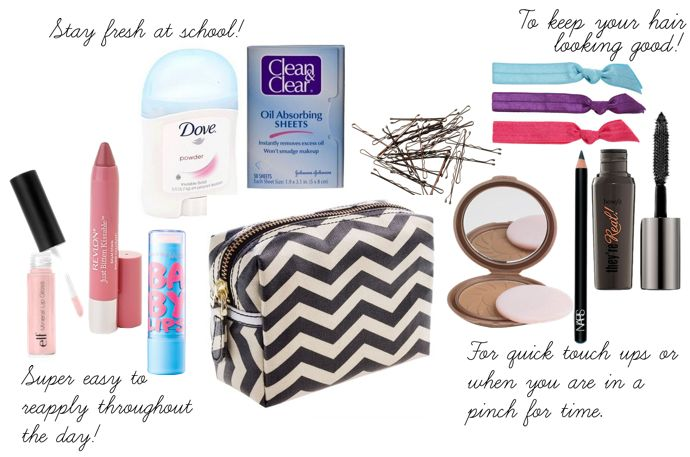 scarvesandrockets: School Makeup Bag Essentials. I don't reapply makeup throughout the day but maybe I'll start.