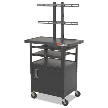 Balt Height-Adjustable TV Cart, Four-Shelf, 24w x 18d x 62h, Black (Box 1 of 2), Multicolor