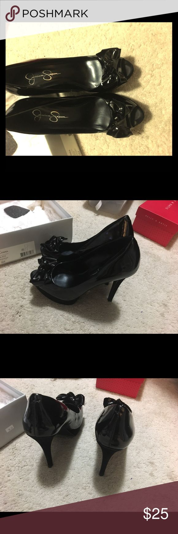 Black Peep-toe Patent Leather and Suede Looking for a sexy black pumps, this is it. These are Jessica Simpson black patent and suede shoes. Size 9M Jessica Simpson Shoes Heels