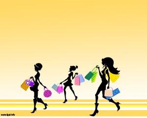 Plantilla PowerPoint de Compras con mujeres comprando en el Shopping