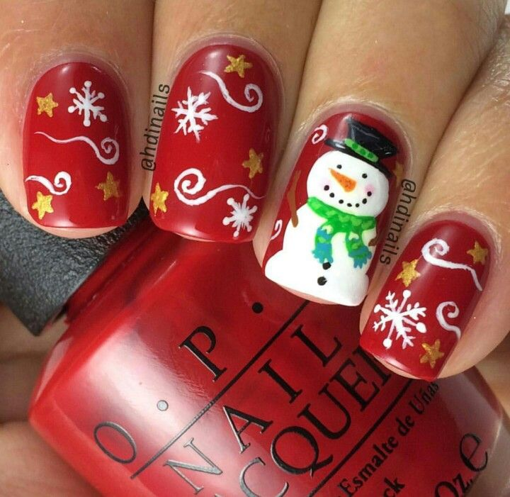 Snowman winter nail art