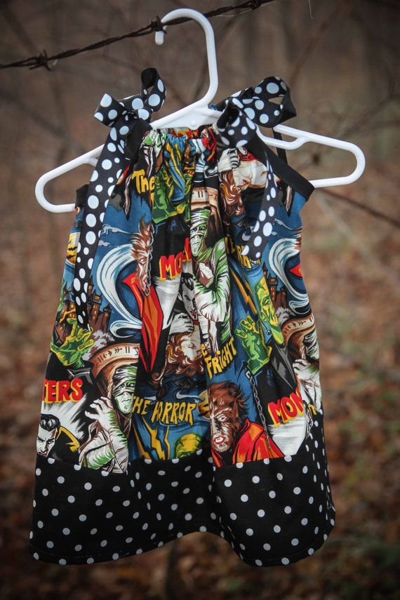Rockabilly, rocker, rock and roll, punk, horror, b movie monster pillowcase dress size 3m, 6m, 9m, 12m, 18m, 2t, 3t, 4t on Etsy, $35.00