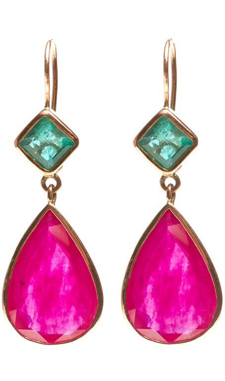 Jade Jagger Ruby & Emerald Gold Drop Earrings