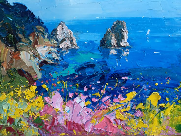 Original Oil Painting of Capri. Luxuriant and extraordinary, Capri is a Mediterranean island that has been visited over the centuries by