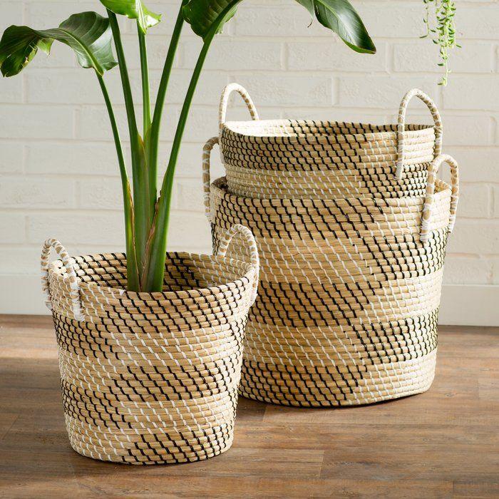 Seagrass 3 Piece Basket Set Rattan Basket Basket Basket Decoration