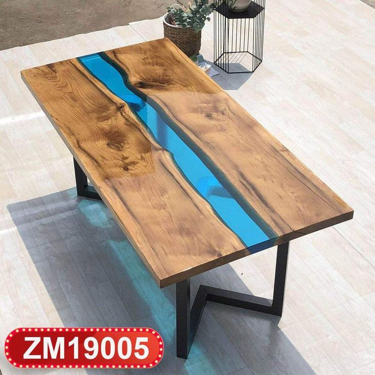 MKRT-190627 Walnut High End Special Design Solid Wood Slab River Epoxy Resin Table 2019