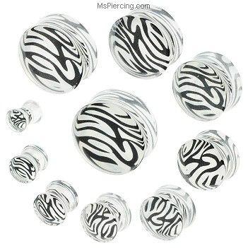 Pair Of White Tiger Print Acrylic  Saddle Plugs #mspiercing #piercings