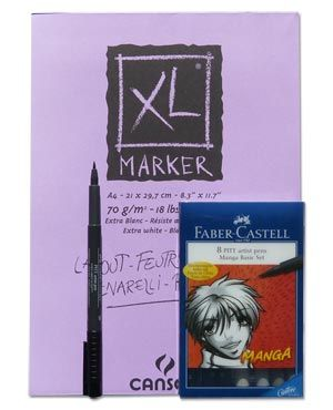 Artifolk Faber Castell 8 Pen Manga Drawing Set inc Pad