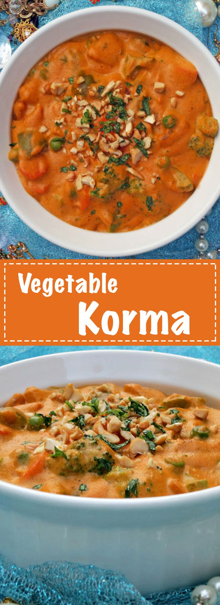 This authentic Indian Vegetable Korma recipe is absolutely delicious!! Recipe by MyHeartBeets.com