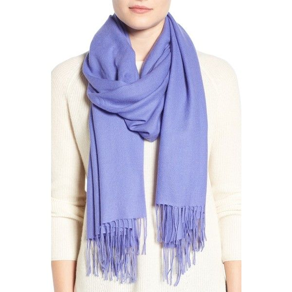 Women's Nordstrom Tissue Weight Wool & Cashmere Scarf ($99) ❤ liked on Polyvore featuring accessories, scarves, purple storm, cashmere scarves, fringe shawl, fringe scarves, woolen scarves and nordstrom scarves