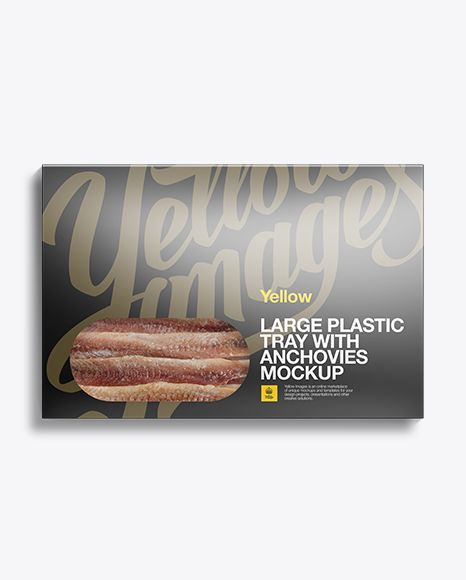 Large Vacuum Tray W/ Premium Anchovies Mock-Up. The tray in a carton box (preview)