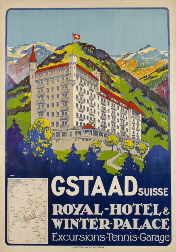 Gstaad Suisse - Royal-Hôtel & Winter Palace, Excursion-Tennis-Garage Not signed, but attributed to Carlo Pellegrini
