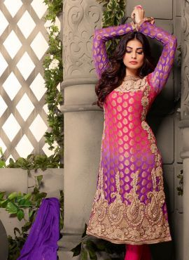 Pink & Violet designer Indian Punjabi salwar suit in viscose butti