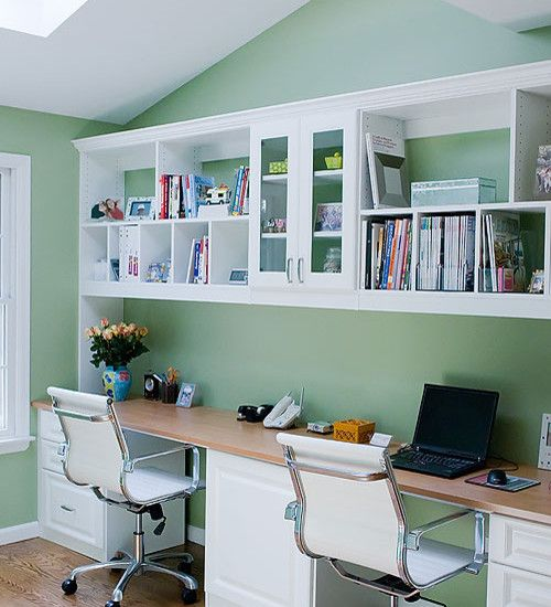 Home Office Design, Pictures, Remodel, Decor And Ideas   Two Person Simple  Built