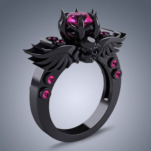 Black Engagement Ring With Pink Sapphire