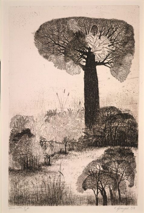 Untitled (forest scene), 1976, by Indian painter & printmaker K. Laxma Goud (b 1940). Copper etching on paper, 48 x 31.5 cm. via A London Salamagundi. source: British Museum