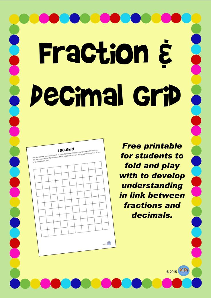 FREE Fraction & Decimal Folding Grid - A blank 100 grid that you can use to fold into different fractions and count the squares to work out what the decimal is!
