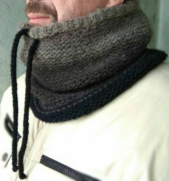 Mens chunky gift, Wool chunky snood, Winter mens fashion, Wool gift for men The chunky snood scarf was handknitted by my hands from luxury ombre organic wool - 100%. The perfect top for your favorite men, isnt it? You do not know what to present to him? Here is the great idea! This