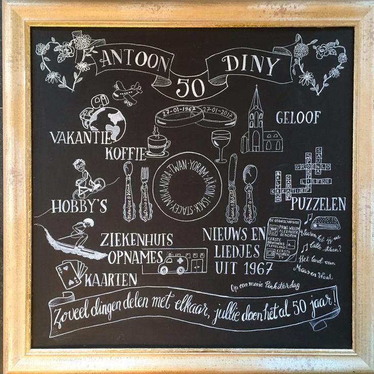 Krijtbord vol herinneringen van de kinderen voor een echtpaar dat 50 jaar getrouwd is.