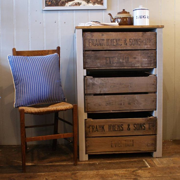 Rustic kitchen storage unit made using vintage fruit crates. Great for storing anything from vegetables to shoes, with the added bonus of extra worktop space. The frame has been painted on a mid-grey and the top waxed for extra protection Size: H:99 x W: 65 x D:41 cm Please note that these pieces are made to order so there is a short lead-time. At present, due to the popularity of this item we aim to deliver in 4 weeks. $638.81