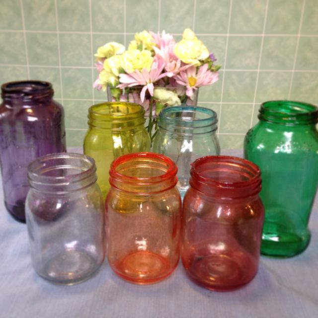 Best 10 color mason jars ideas on pinterest designs for for Best paint to use on glass jars