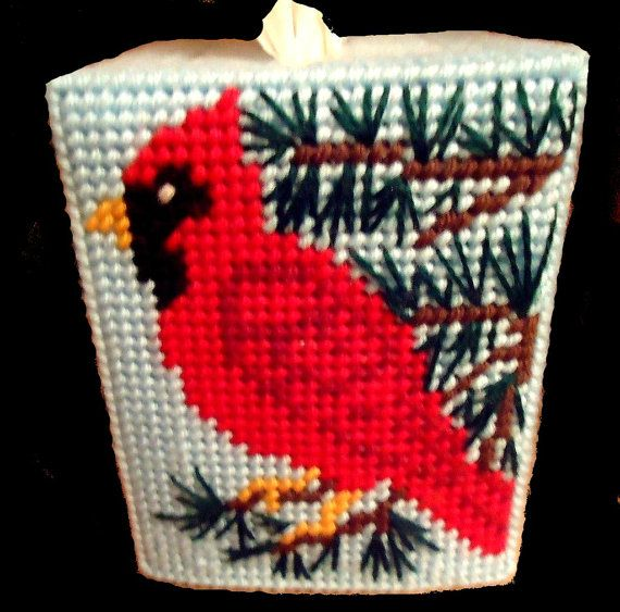Tissue Box Cover CARDINAL Non Christmas by NiftyStitches4U on Etsy, $12.50
