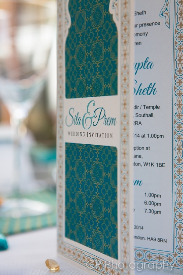 Temple of Dreams Asian Wedding invitation.  Three fold invite personalised with name and wedding date.  Available in all colours by www.fuschiadesigns.co.uk.