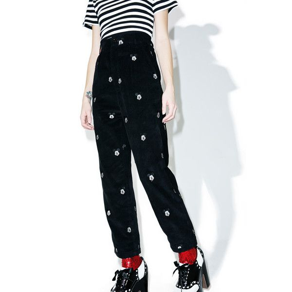 Lazy Oaf X Disney Mickey Mouse Cord Trouser (165 CAD) ❤ liked on Polyvore featuring pants, zip pants, high waisted trousers, embroidered corduroy pants, relaxed fit pants and high-waisted pants