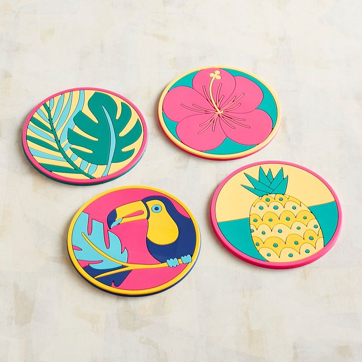 Silicone Tropical Coasters, Set Of 4