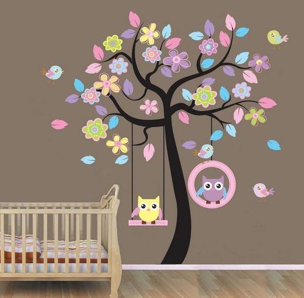 Väggdekor - 2 Ugglor i Färgstarkt Träd 170 x 160 cm.