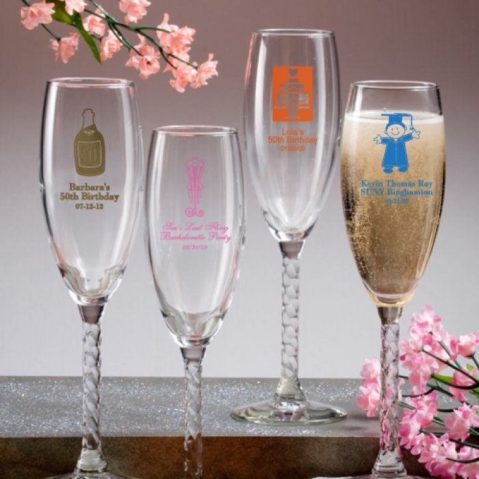 These elegant glass champagne flutes are personalized favors with a twist Clearly a fitting choice as personalized wedding favors, or for showers, anniversary parties and much more, these champagne flutes are truly unique.