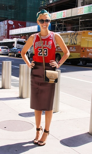 The pencil skirt gets sporty. Jennifer of Glamour in the bonded vinyl pencil skirt.: Fashion Blog