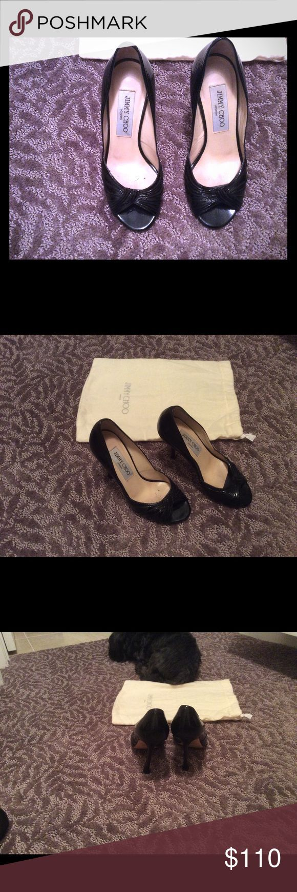 👠Jimmy Choo Open Toe Heal size 4 Jimmy Choo Open Toe Heel size 4 worn on bottom heels in good condition w duster no box Jimmy Choo Shoes Heels