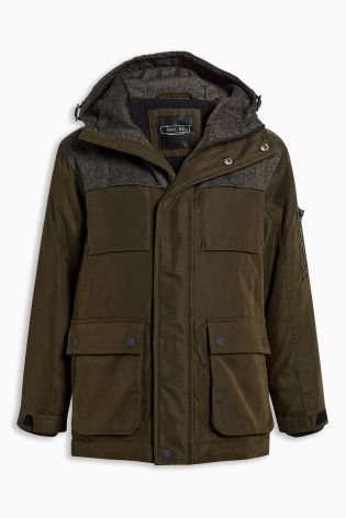 06c73750a6da Buy Khaki Heritage Mix Fabric Jacket (3-16yrs) from the Next UK online shop