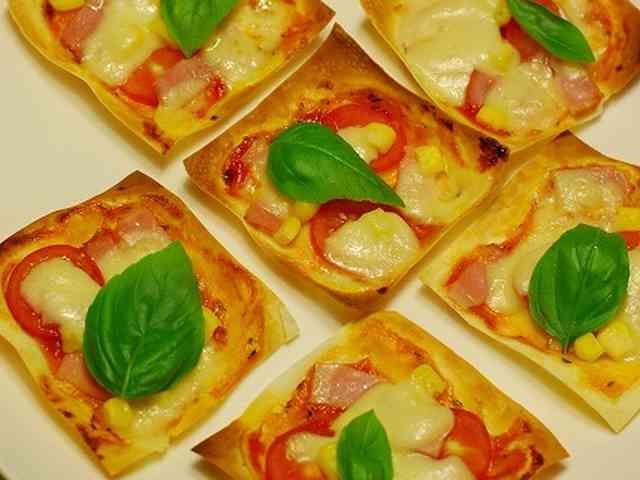 簡単♪ワンタンの皮で☆一口おつまみピザの画像