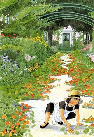 One of my most favos. In Monet's garden, Illustration for Swedish children's book by Lena Anderson, Sweden.