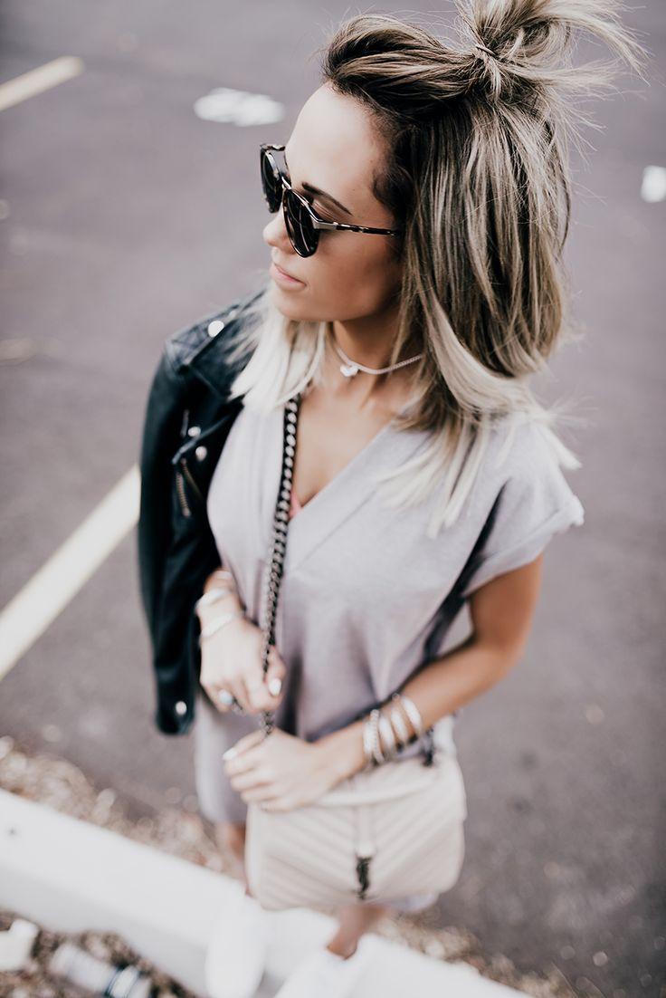 // Dress: ATM Jacket: Iro Shoes: Nike Handbag: YSL Bracelets: Alex and Ani Rings: Windsor