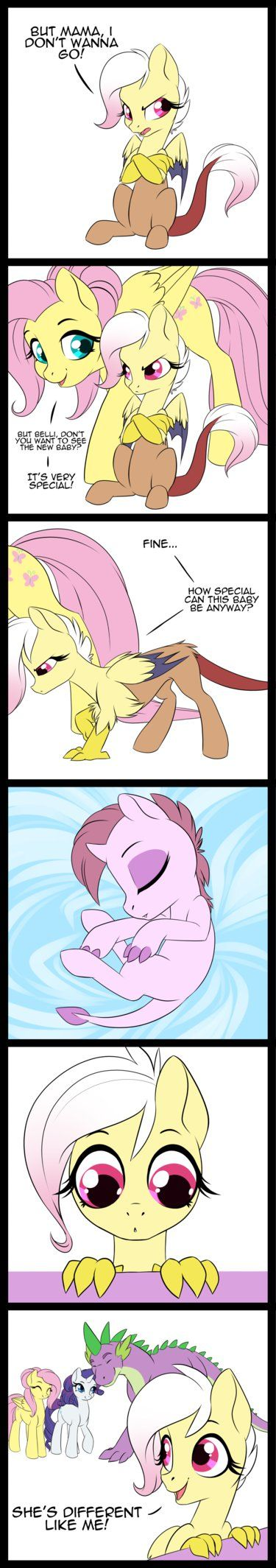 This is cute even though I don't ship Flutter and Discord or Rarity and Spike. TBH I'm only pinning for character design and art style.