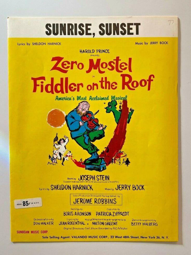 Vintage 1964 Fiddler On The Roof Sheet Music Zero Mostel