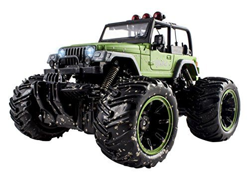 RC Remote Control Jeep Wrangler Mud Toy Monster RC Off-Road 4X4 Truck Toy 1:16 Size w/ Headlights RECHARGEABLE (Red or Green)  PACKED WITH FUN FOR ALL CHILDREN: Full Function Features all around movement, Wheel Lights, Durable, 1:16 Size Unique MUD Color Design, Rubber Tires, Monster Truck Toy Tires, Truck dimensions: 10 x 8 x 7 inches  PERFECT FOR INDOOR/OUTDOOR USE: Suitable for On and Off Road Racing - Front Alignment Adjustability for fast cornering Off Road Wheels with Premium R...