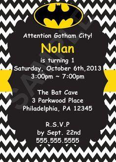 Batman Birthday Invitation Digital File by CutieTootiePrints, $8.00