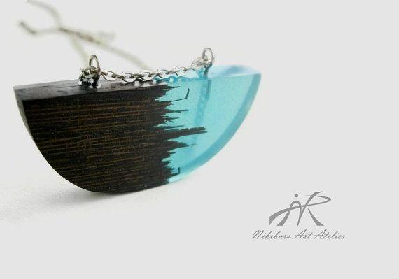 Modernist wenge pendant exotic burl wood and by NikibarsNatureArt