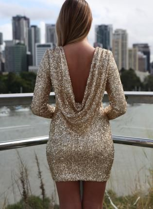 Gold Sequin Dress - Gold Sequin Long Sleeve Dress http://www.ustrendy.com/store/product/93776/gold-sequin-long-sleeve-dress-with-open-plunge-back