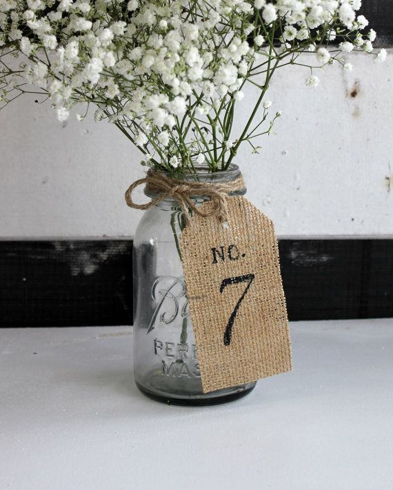 rustic burlap table number by montanasnow on Etsy, $2.75