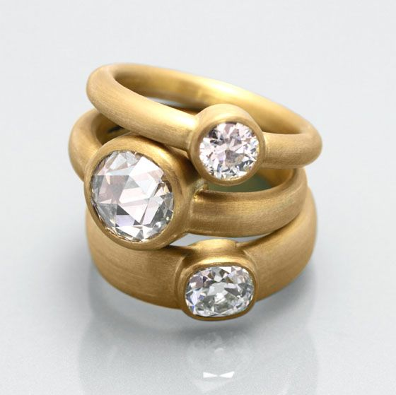 Rings in 22ct yellow gold set with antique old cut diamonds by Deborah Cadby
