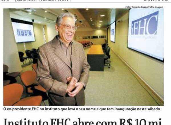 Fernando Henrique Cardoso abriu seu instituto FHC com 1.000.000,00 da Odebrecht, pedido dentro do Palácio do Planalto, mas Sergio Moro só pensa no imóvel que ia ser do Lula