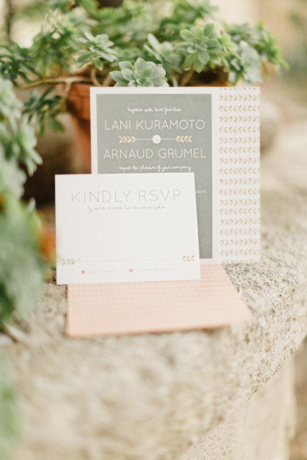 arrow invitations in a soft pink and grey palette   Photography by xaviernavarro.com: Invitations, Event Design, Till French, Lucytillfrenchweddings Com, Wedding Invitation, French Weddings, Xaviernavarro Com Event