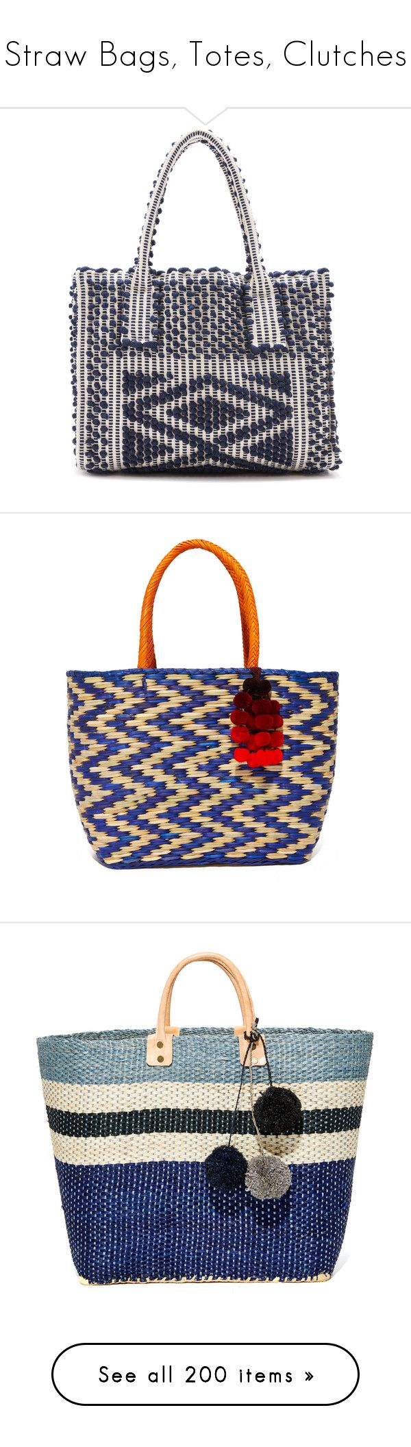"""""""Straw Bags, Totes, Clutches"""" by leaff88 ❤ liked on Polyvore featuring bags, handbags, shoulder bags, navy, shoulder bag tote, navy tote bag, white shoulder bag, pocket tote bag, navy tote and tote bags"""