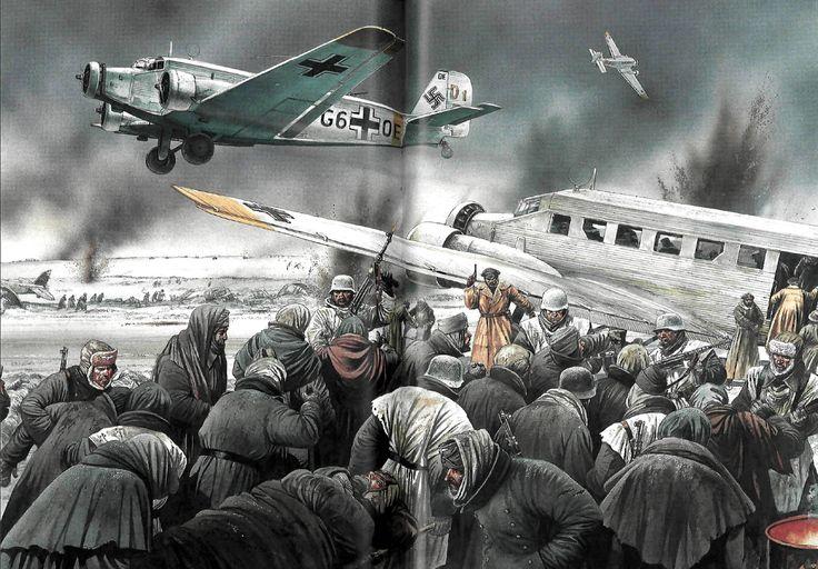Junkers Ju-52 evacuando heridos desde Stalingrado, mientras la policía militar se afana en contener a las masas de hombres desesperados por conseguir un hueco en el avión.