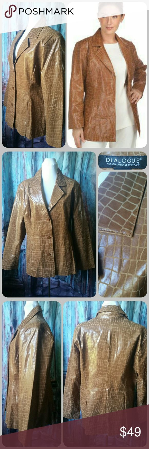 """DIALOGUE (for QVC) leather blazer """"Elegant and exotic, this leather jacket is one to own.  XL(18-20), Semi-fitted; length measurements XL  Shell 100% croco-embossed leather; lining 100% polyester. Professionally dry clean by leather or suede method only"""" -QVC  NWT. Marked XL which is 18/20 by QVC website (see sizing picture above) Dialogue Jackets & Coats"""